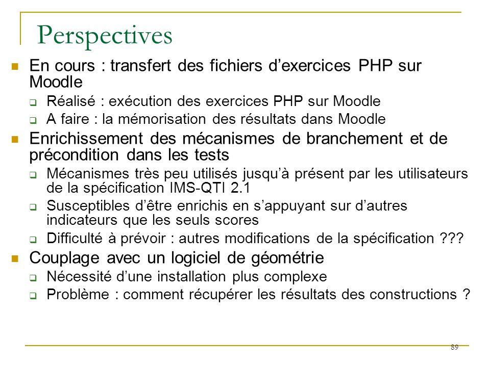 Perspectives En cours : transfert des fichiers d'exercices PHP sur Moodle. Réalisé : exécution des exercices PHP sur Moodle.