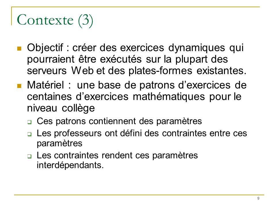 Contexte (3) Objectif : créer des exercices dynamiques qui pourraient être exécutés sur la plupart des serveurs Web et des plates-formes existantes.