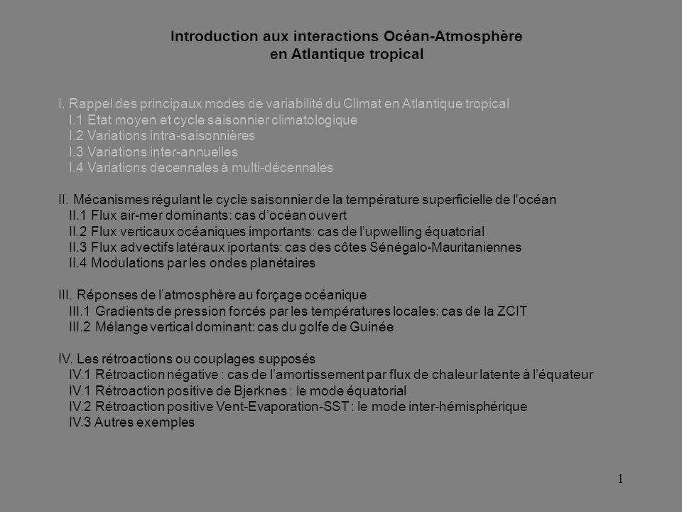 Introduction aux interactions Océan-Atmosphère en Atlantique tropical