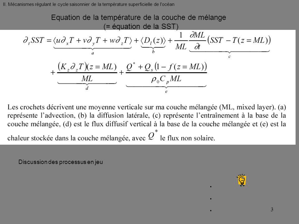 Equation de la température de la couche de mélange