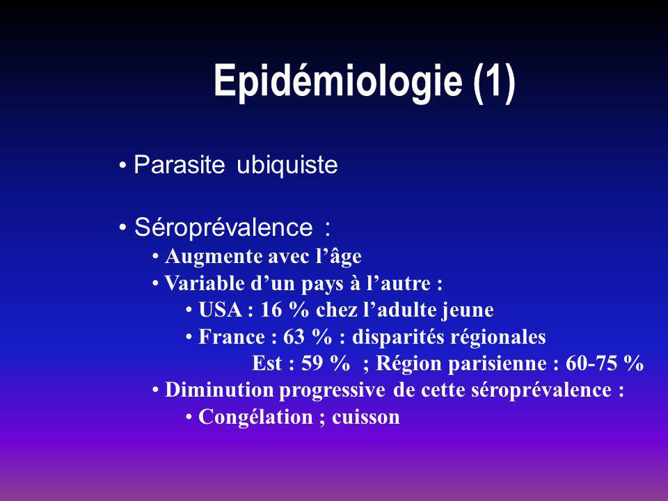 Epidémiologie (1) Parasite ubiquiste Séroprévalence :