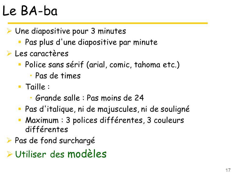 Le BA-ba Utiliser des modèles Une diapositive pour 3 minutes
