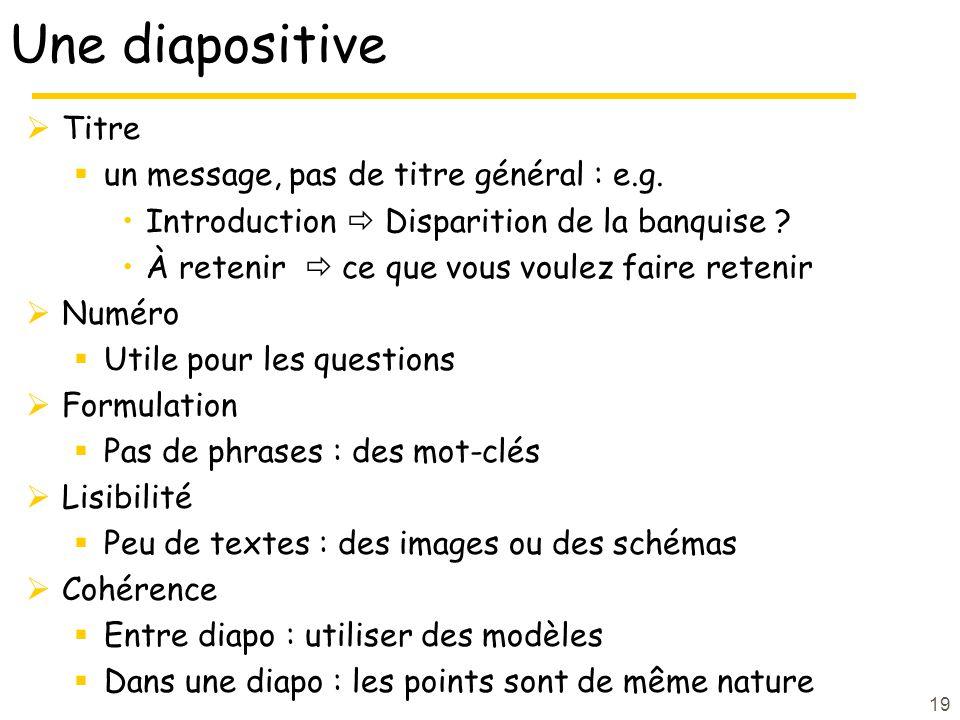 Une diapositive Titre un message, pas de titre général : e.g.