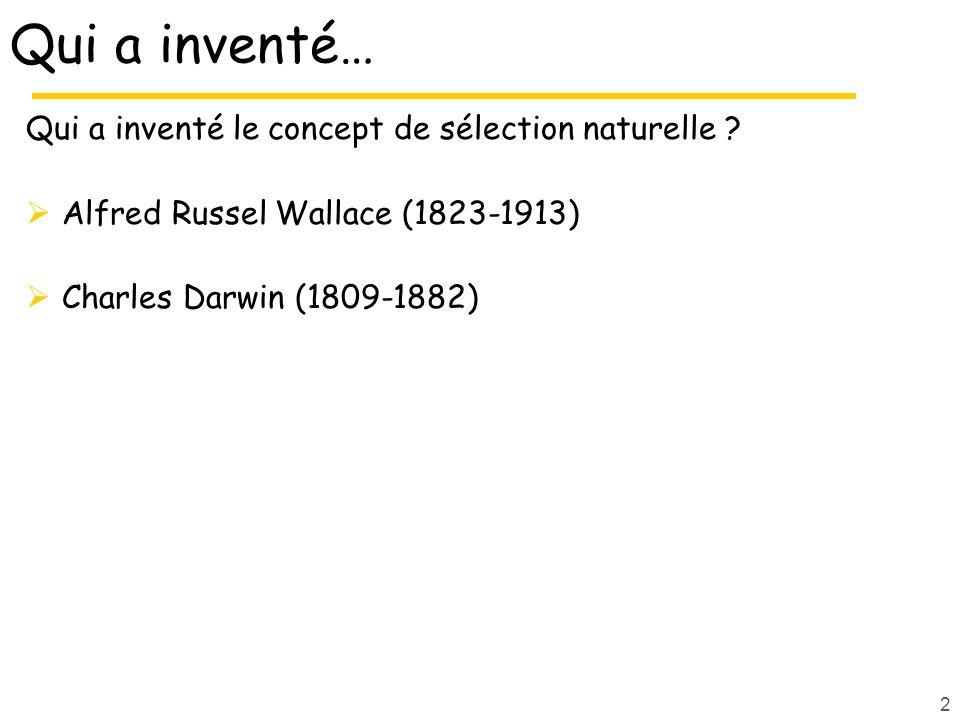 Qui a inventé… Qui a inventé le concept de sélection naturelle