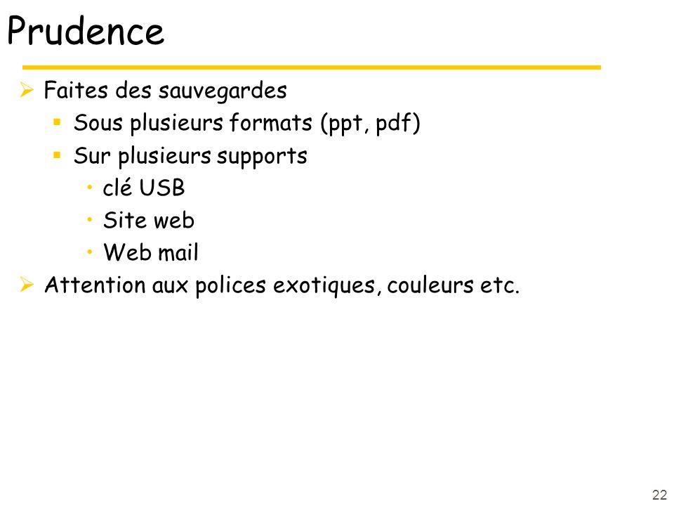 Prudence Faites des sauvegardes Sous plusieurs formats (ppt, pdf)