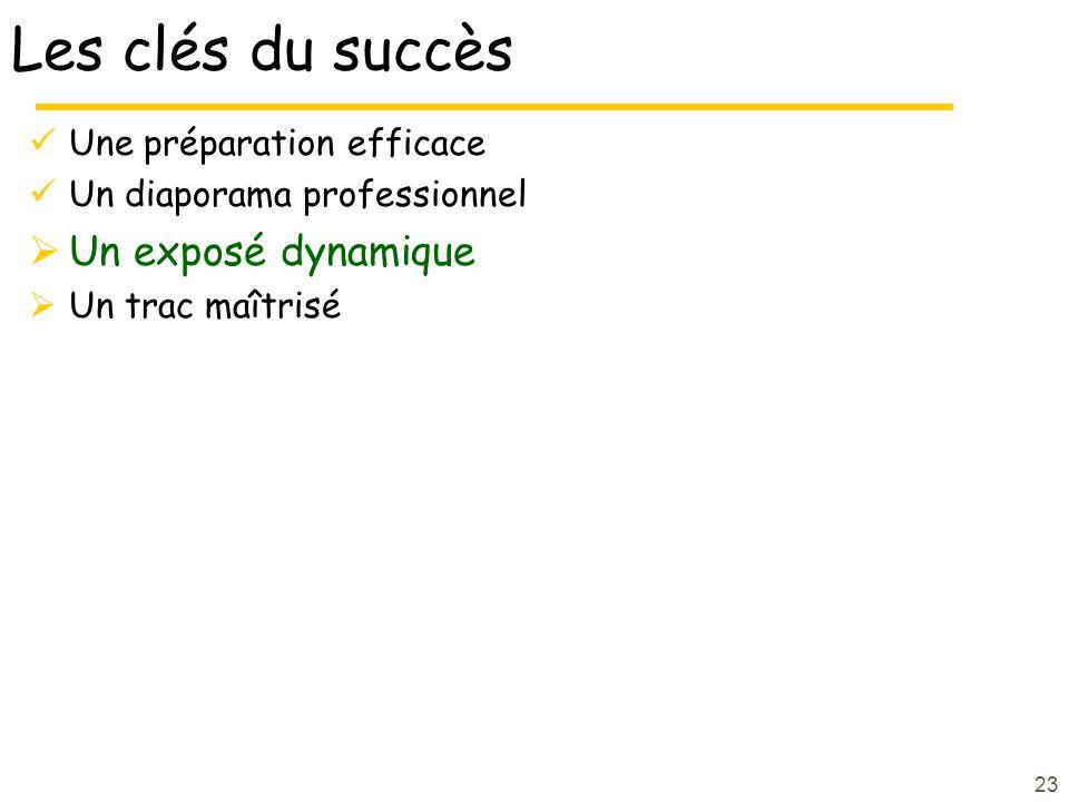 Les clés du succès Un exposé dynamique Une préparation efficace