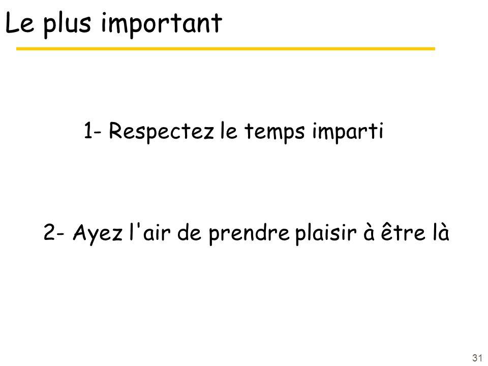 Le plus important 1- Respectez le temps imparti