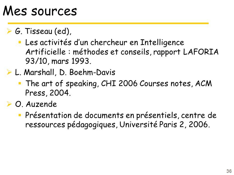 Mes sources G. Tisseau (ed),