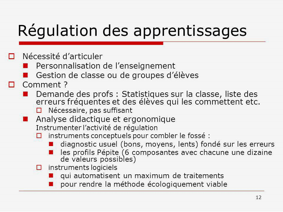 Régulation des apprentissages