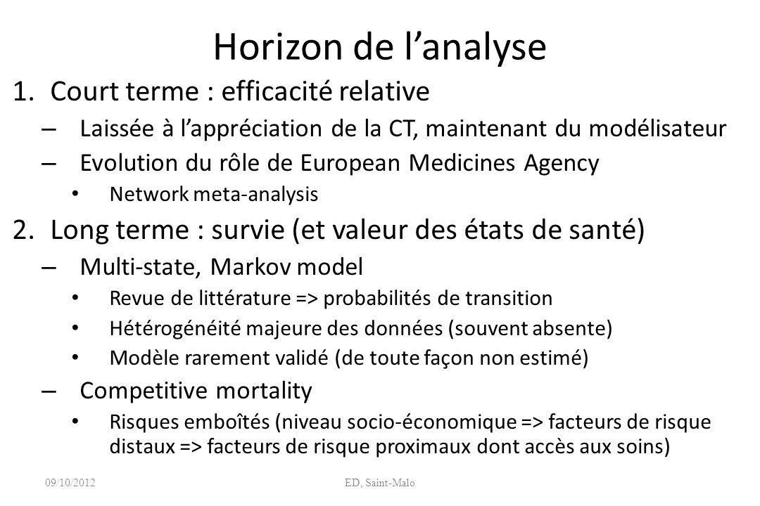 Horizon de l'analyse Court terme : efficacité relative