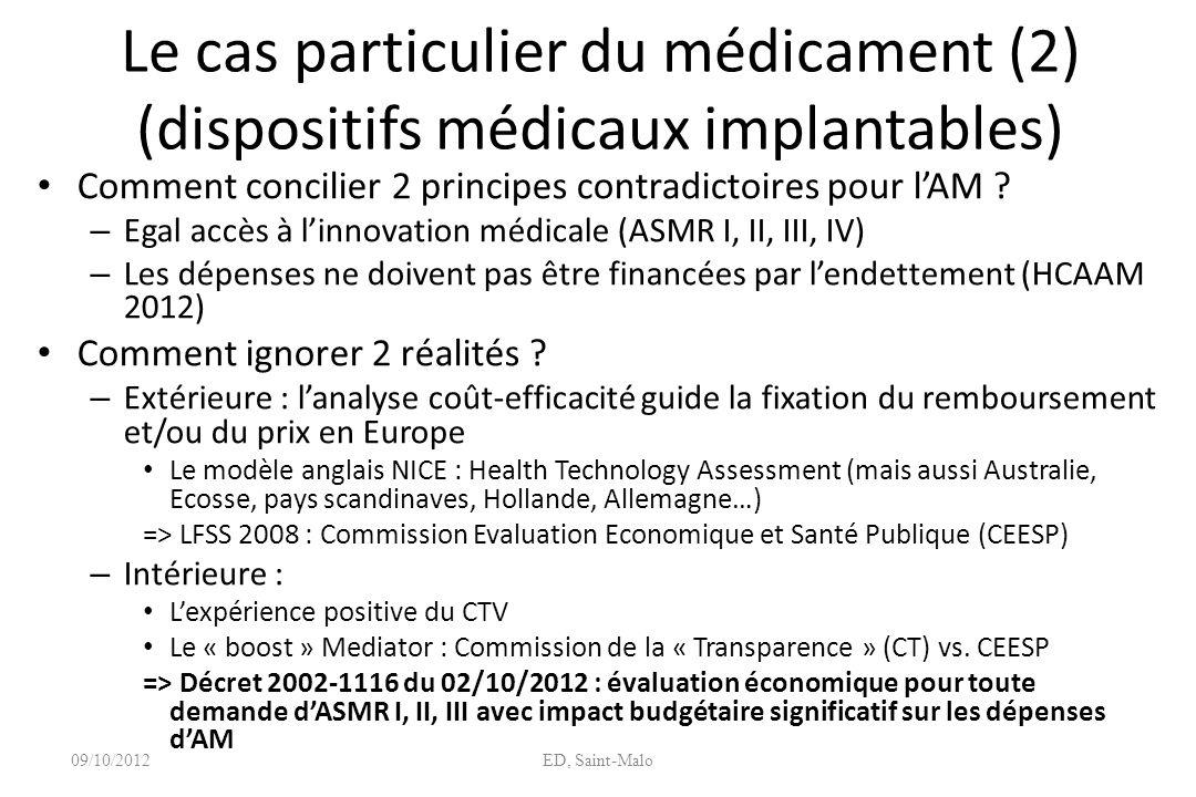 Le cas particulier du médicament (2) (dispositifs médicaux implantables)