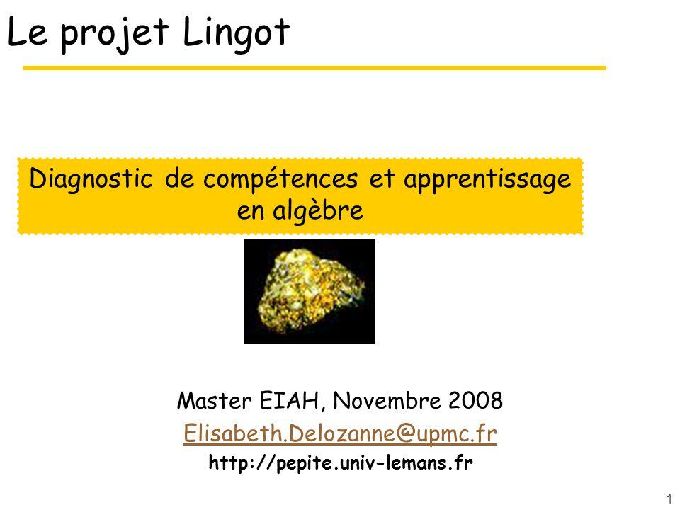 Diagnostic de compétences et apprentissage en algèbre