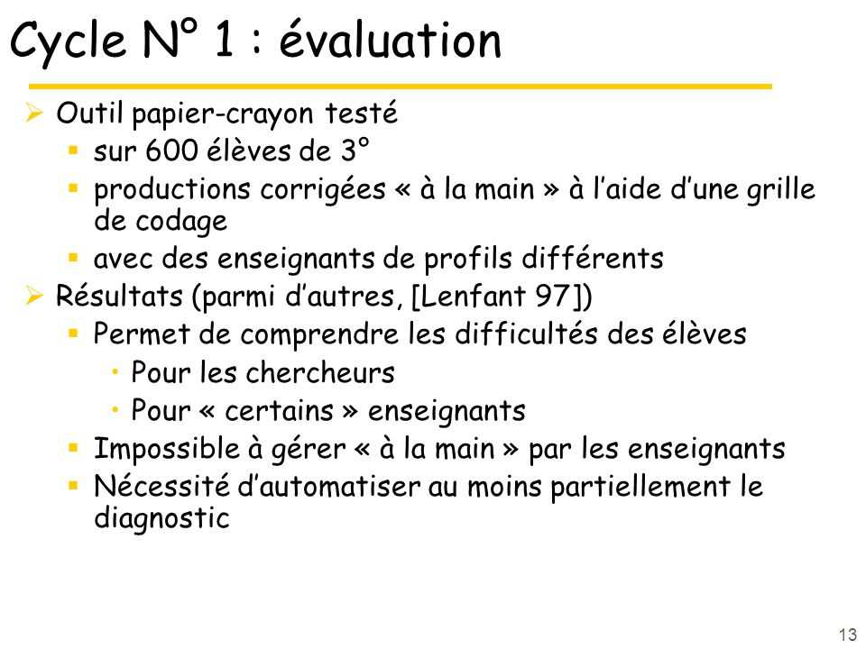 Cycle N° 1 : évaluation Outil papier-crayon testé sur 600 élèves de 3°