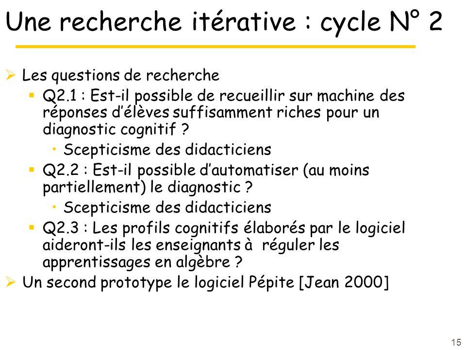 Une recherche itérative : cycle N° 2