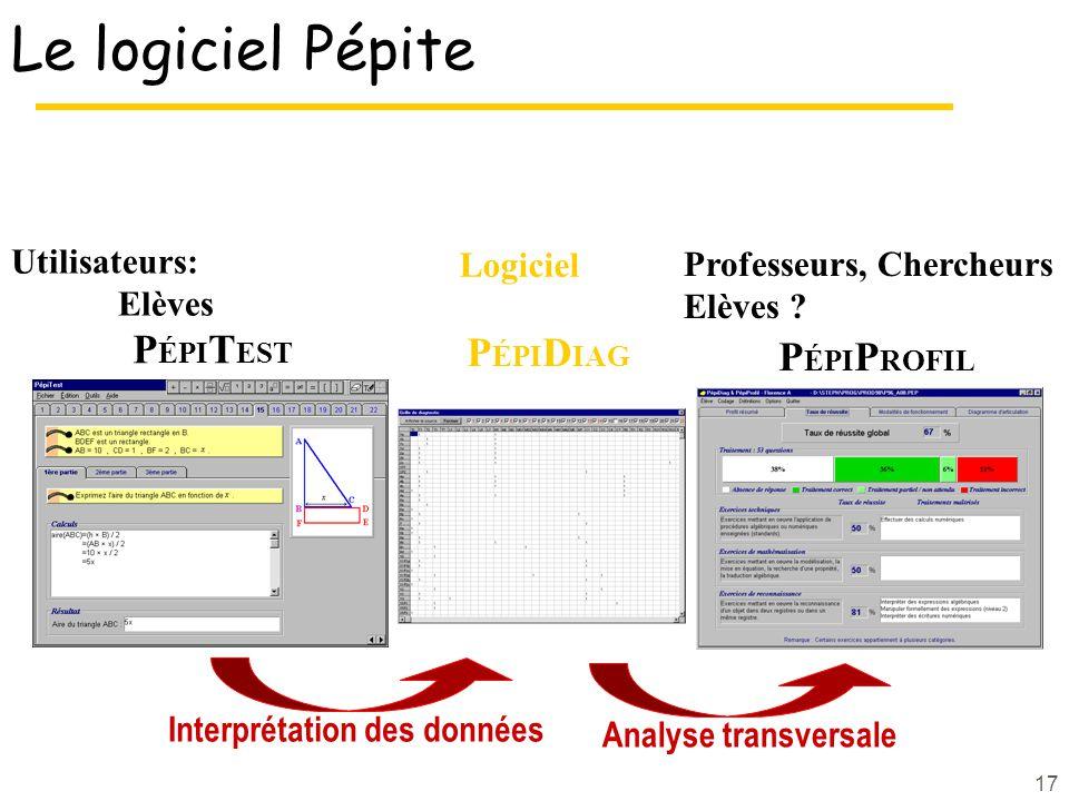 Le logiciel Pépite PÉPITEST PÉPIDIAG PÉPIPROFIL Utilisateurs: Logiciel