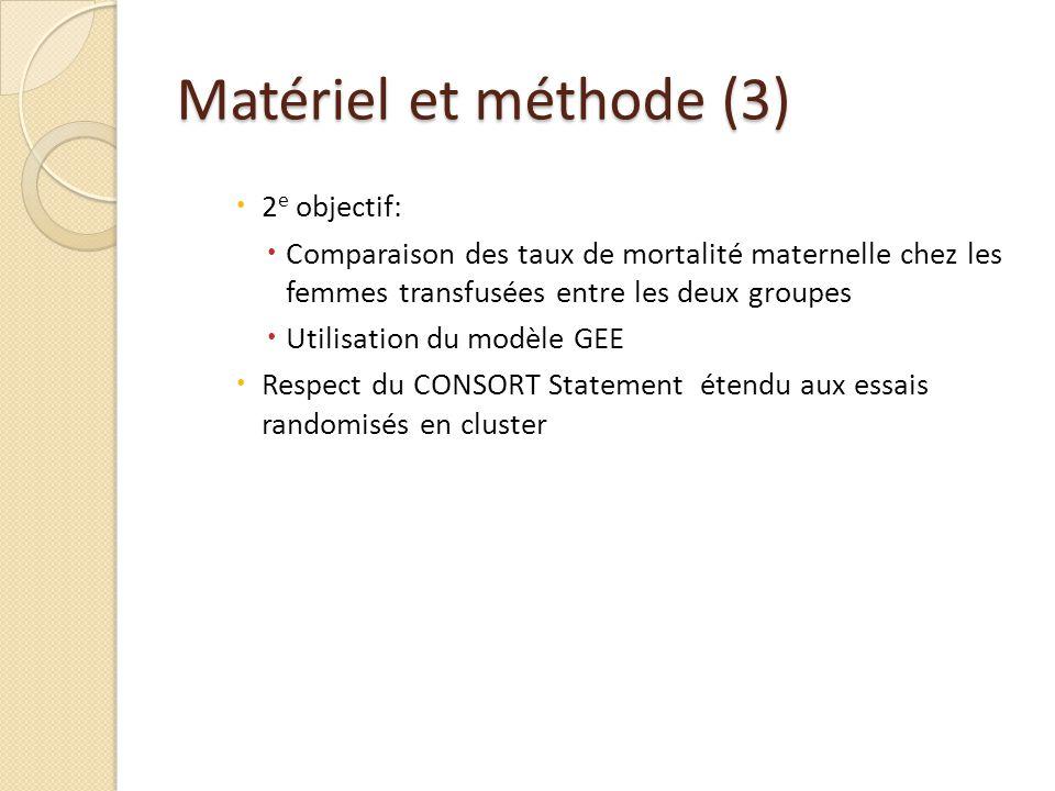 Matériel et méthode (3) 2e objectif: