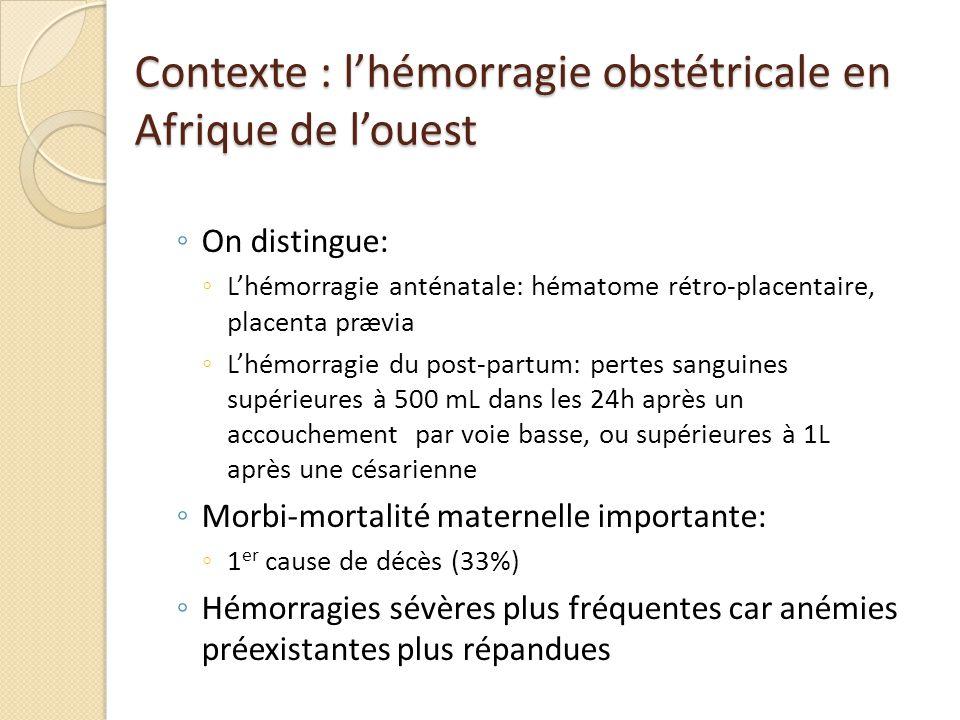 Contexte : l'hémorragie obstétricale en Afrique de l'ouest