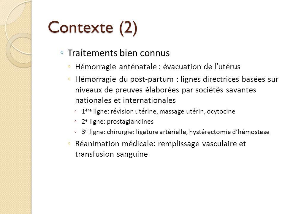 Contexte (2) Traitements bien connus