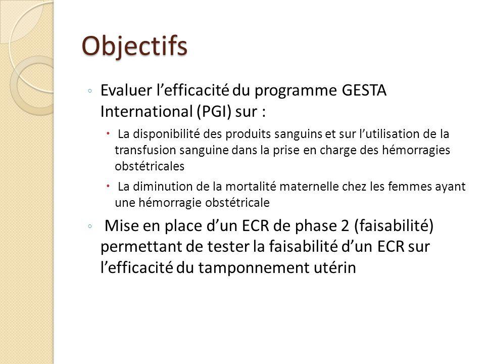 Objectifs Evaluer l'efficacité du programme GESTA International (PGI) sur :