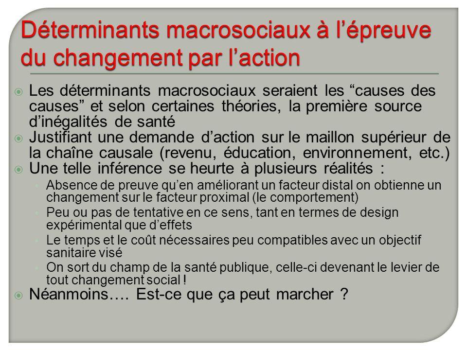 Déterminants macrosociaux à l'épreuve du changement par l'action