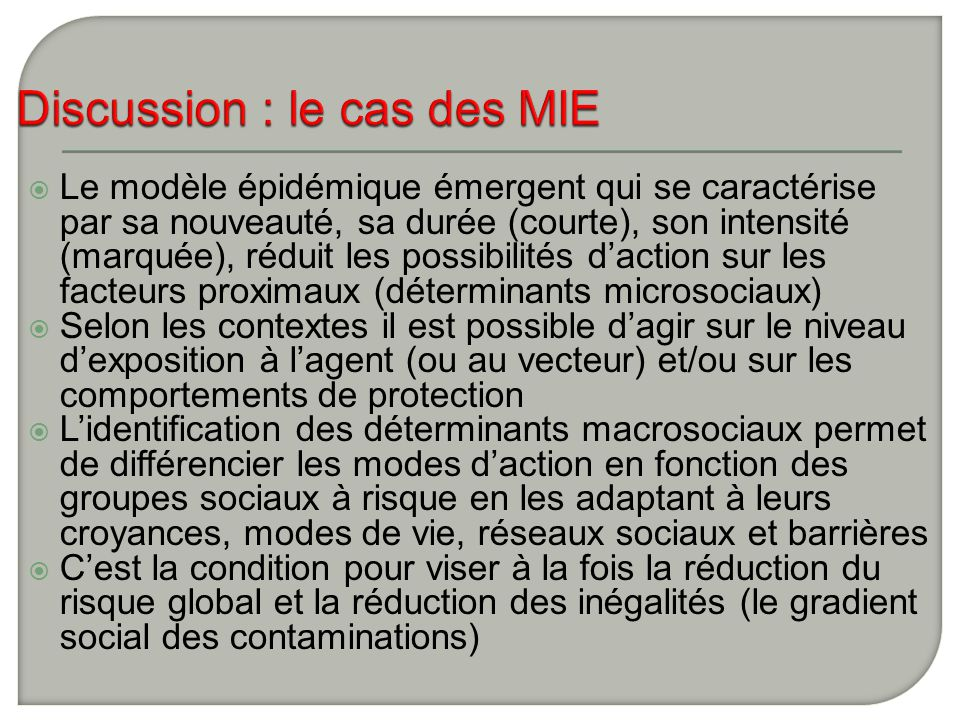 Discussion : le cas des MIE