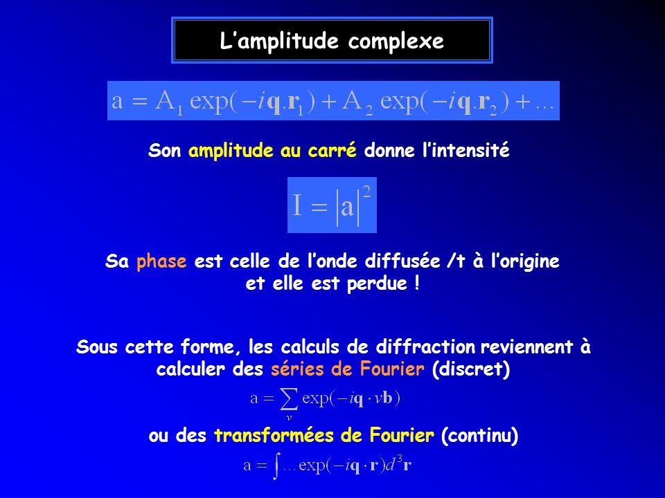 L'amplitude complexe Son amplitude au carré donne l'intensité