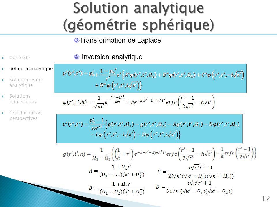 Solution analytique (géométrie sphérique)