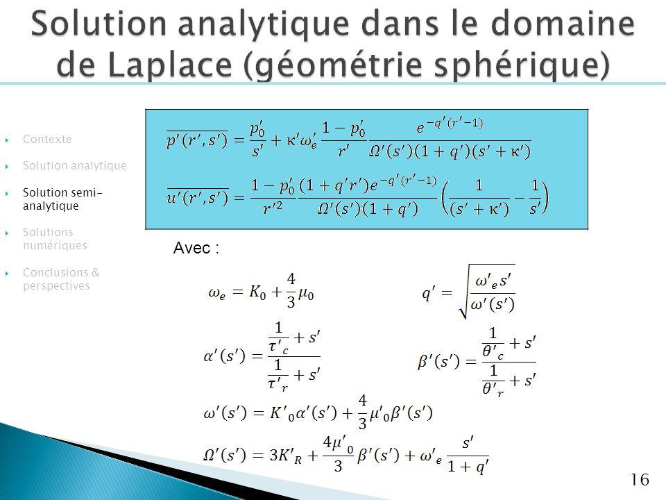 Solution analytique dans le domaine de Laplace (géométrie sphérique)