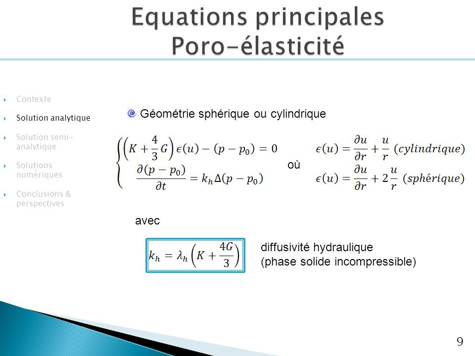 Equations principales Poro-élasticité
