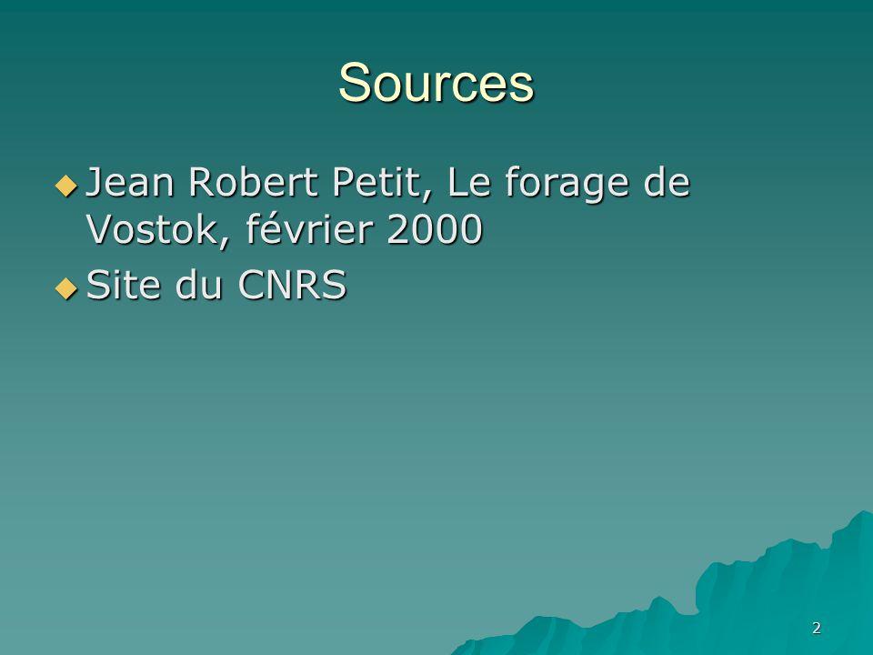 Sources Jean Robert Petit, Le forage de Vostok, février 2000