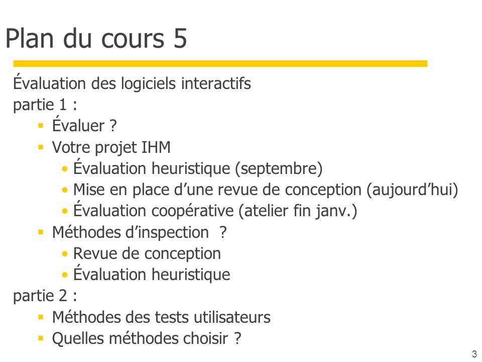 Plan du cours 5 Évaluation des logiciels interactifs partie 1 :