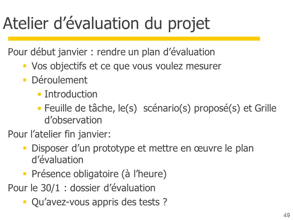 Atelier d'évaluation du projet