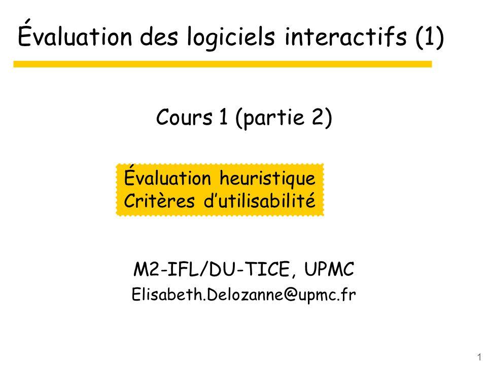 Évaluation des logiciels interactifs (1)