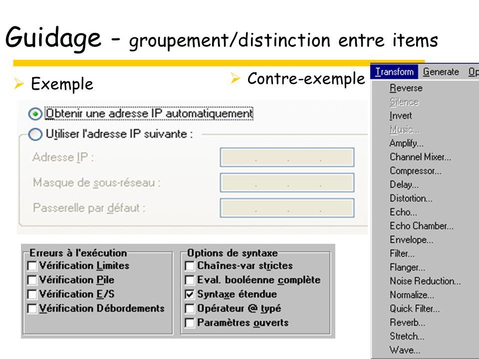 Guidage - groupement/distinction entre items