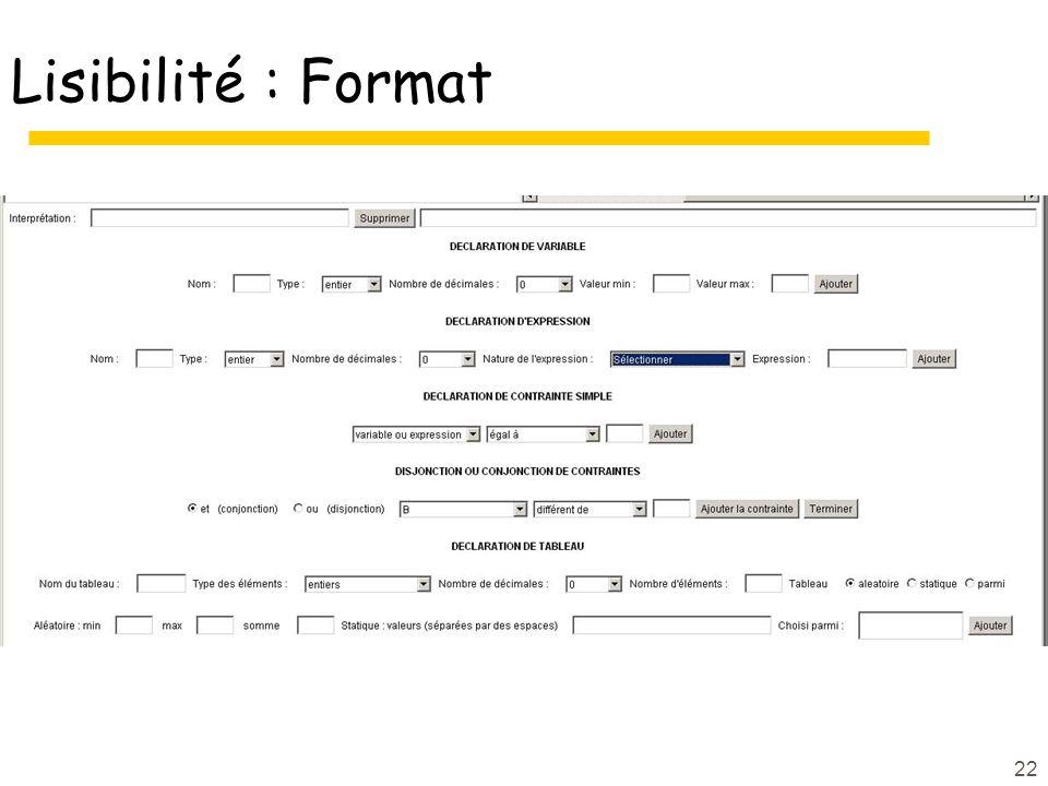 Lisibilité : Format
