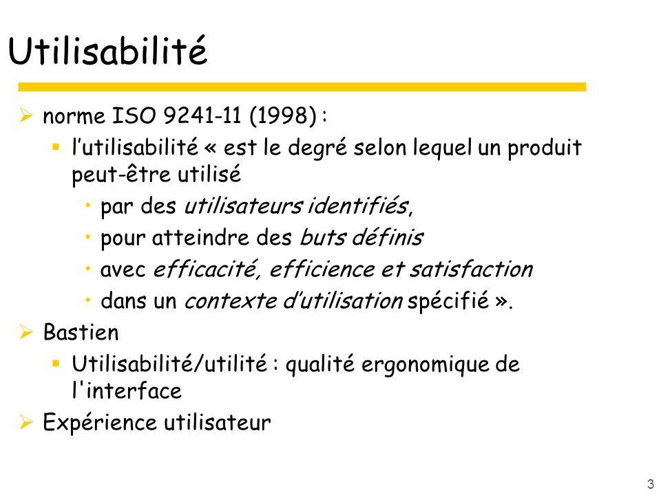 Utilisabilité norme ISO 9241-11 (1998) :