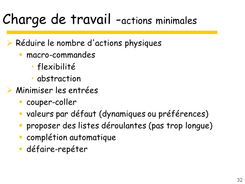 Charge de travail -actions minimales