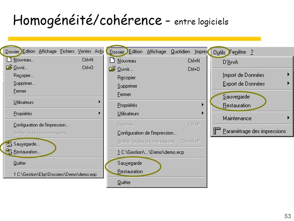 Homogénéité/cohérence - entre logiciels