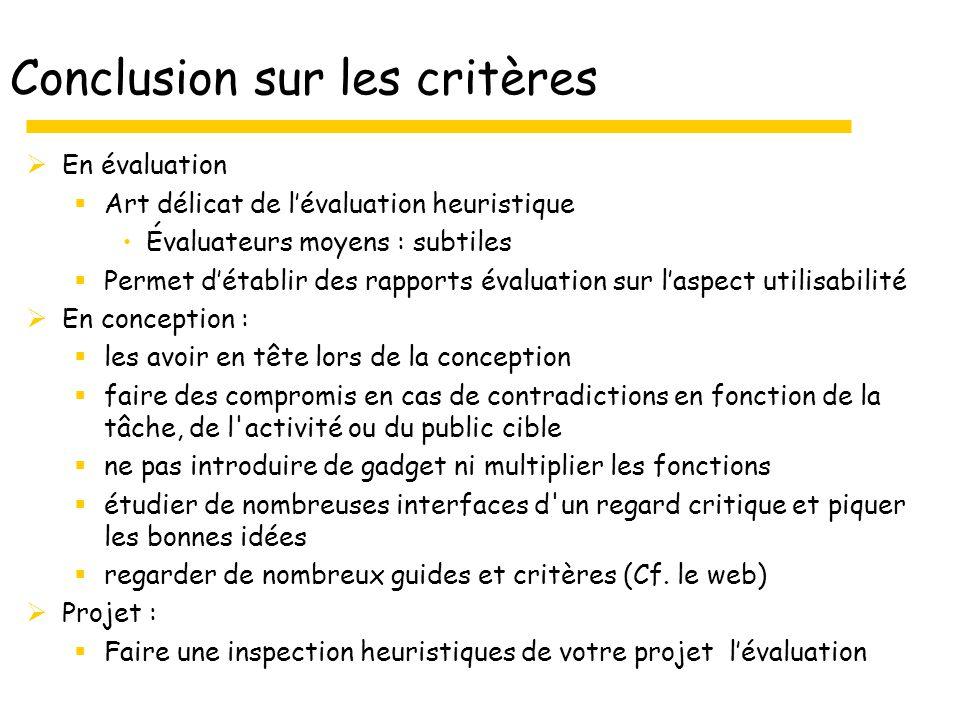 Conclusion sur les critères