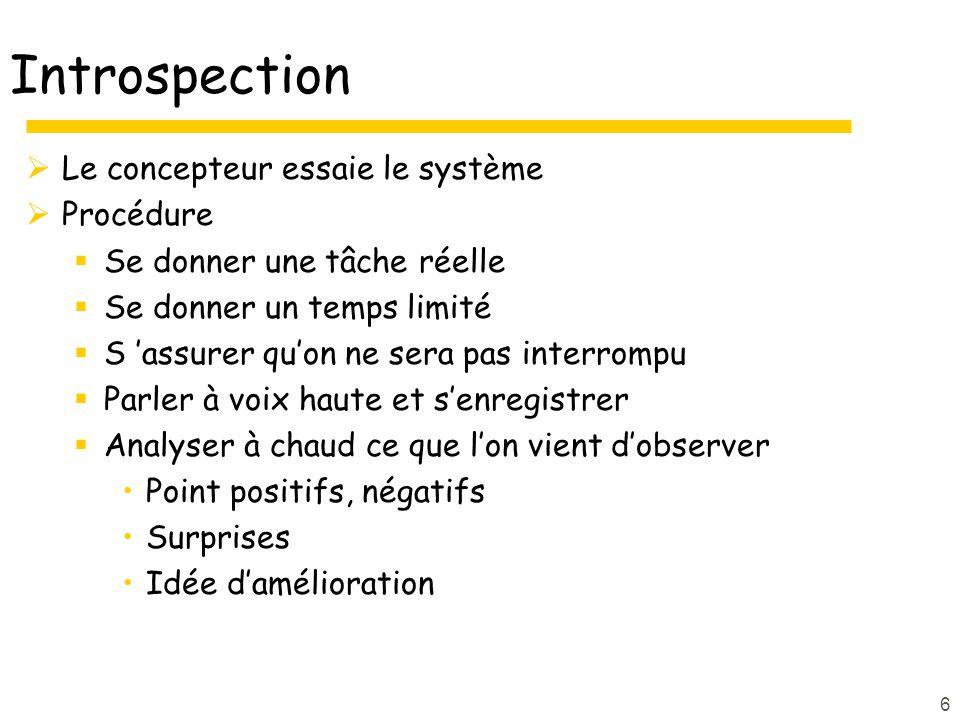 Introspection Le concepteur essaie le système Procédure