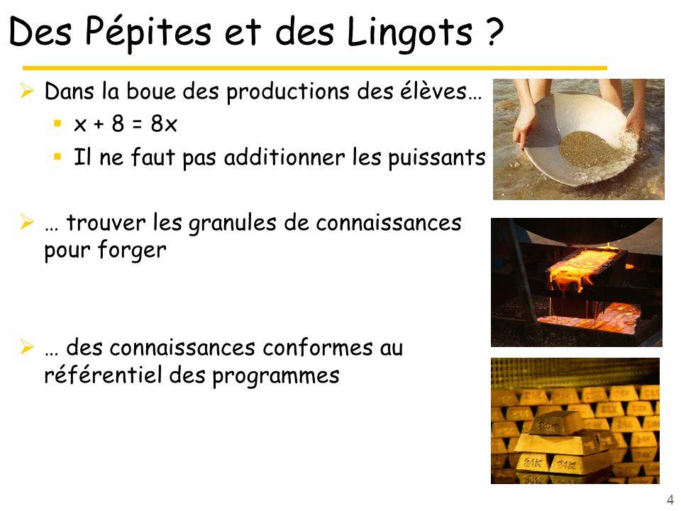 Des Pépites et des Lingots