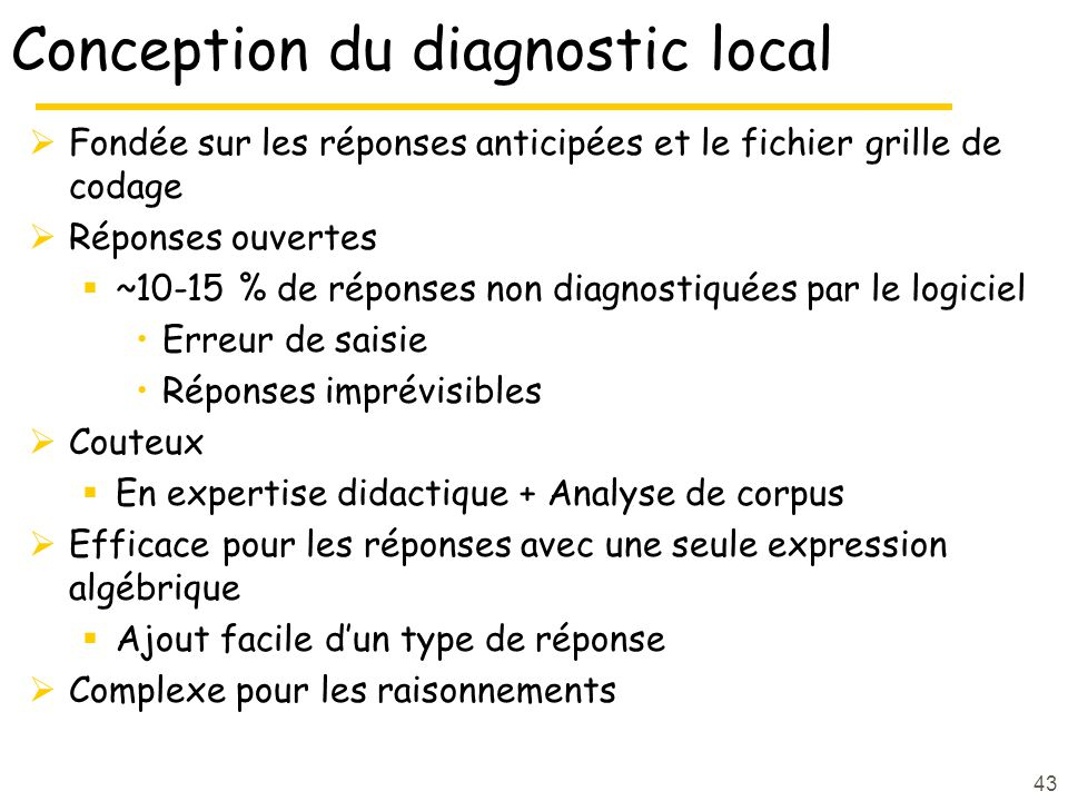 Conception du diagnostic local