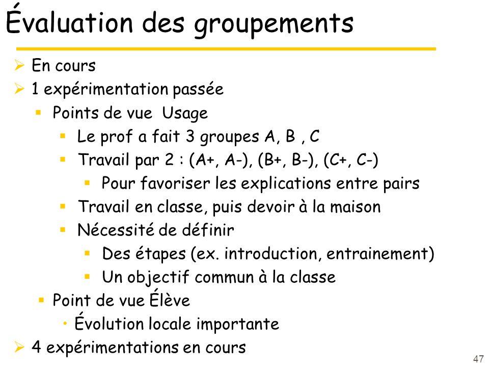 Évaluation des groupements