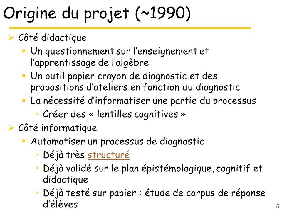 Origine du projet (~1990) Côté didactique