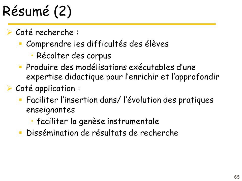 Résumé (2) Coté recherche : Comprendre les difficultés des élèves