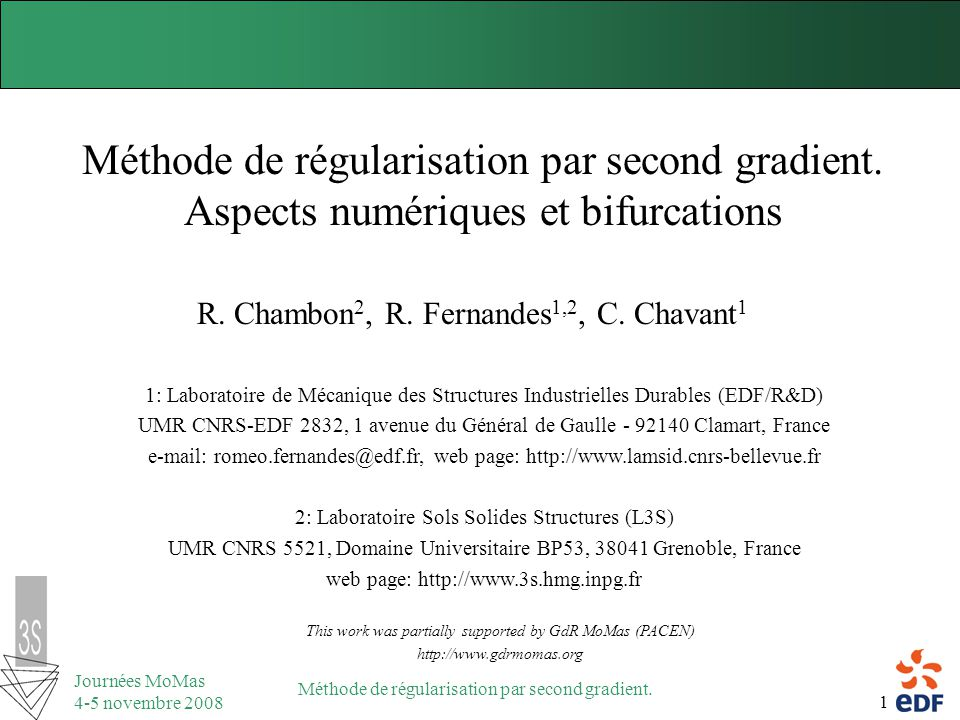 R. Chambon2, R. Fernandes1,2, C. Chavant1