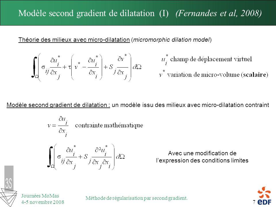 Modèle second gradient de dilatation (I) (Fernandes et al, 2008)