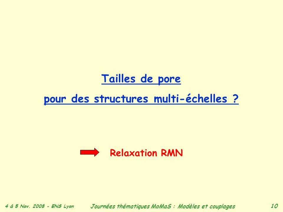 Tailles de pore pour des structures multi-échelles