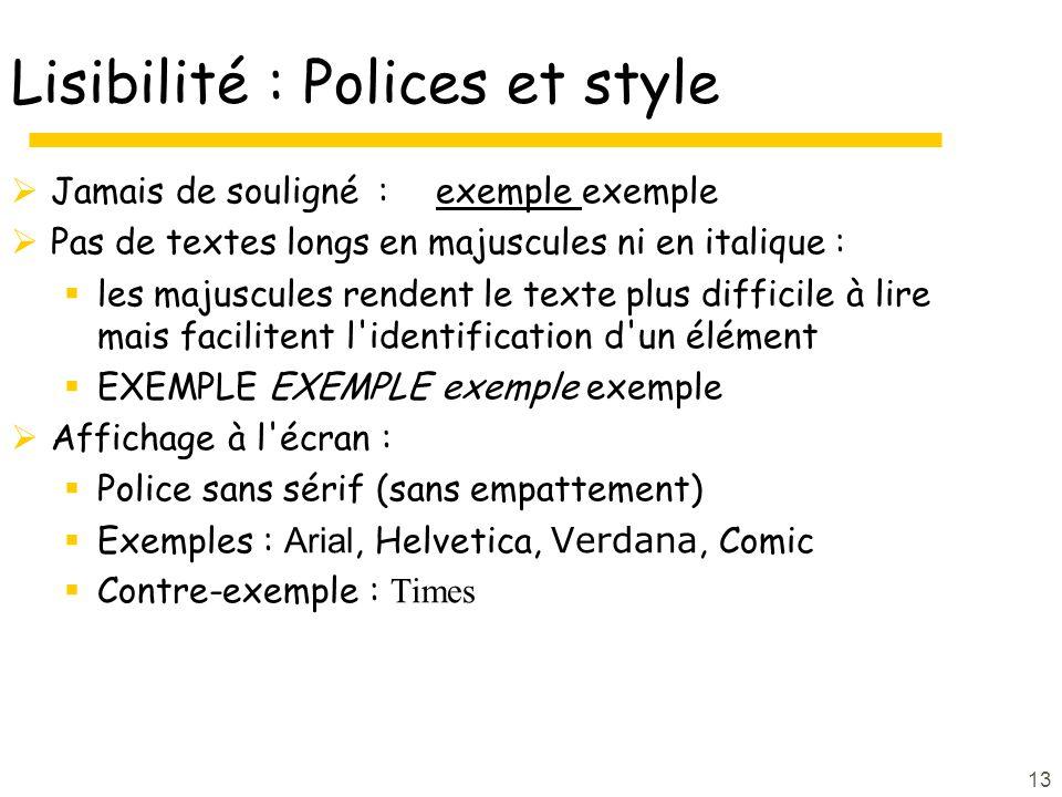 Lisibilité : Polices et style