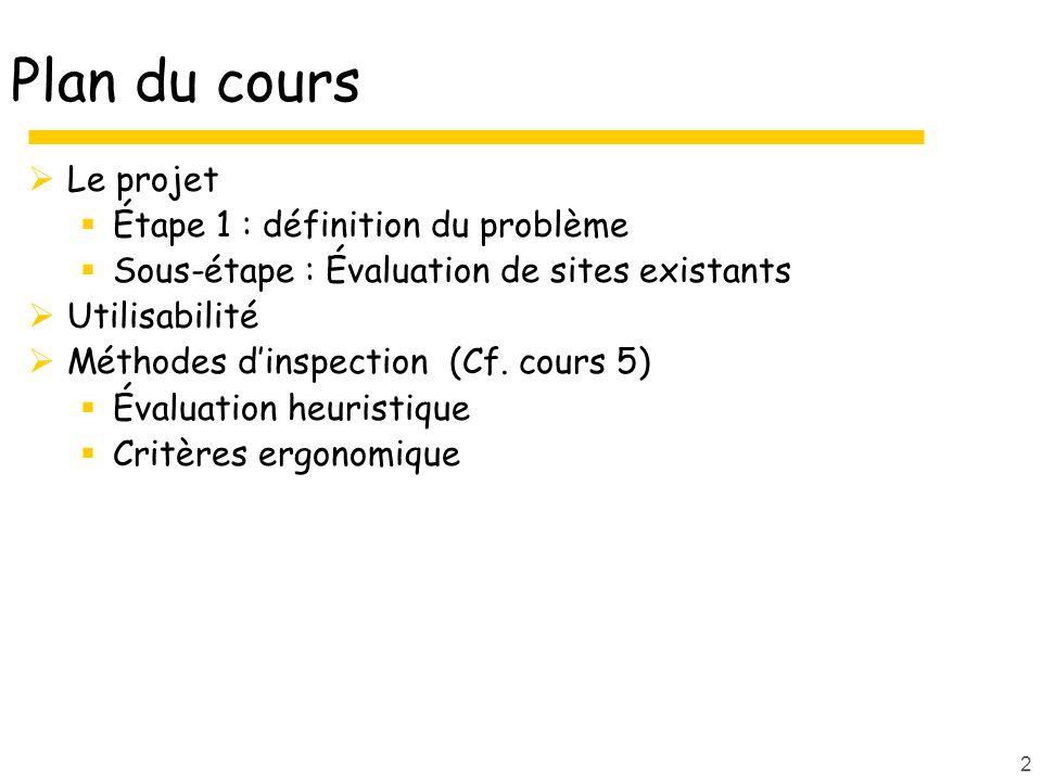Plan du cours Le projet Étape 1 : définition du problème